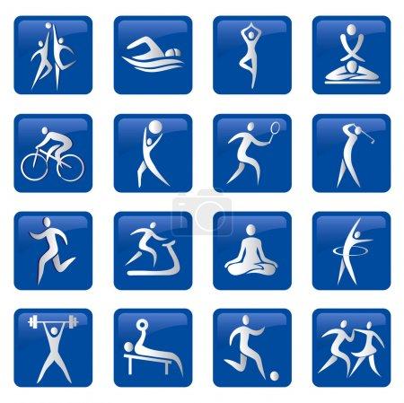 Illustration pour Ensemble de boutons sport, fitness, massage web bleu. Illustration vectorielle . - image libre de droit