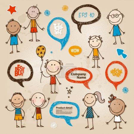 Hand-drawn children set