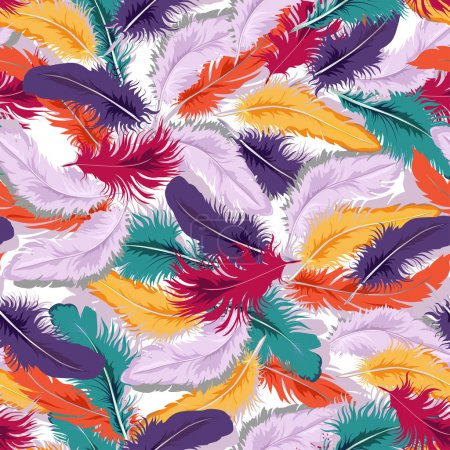 Colorful feathers seamless