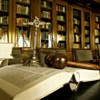 Symbol of law and justice in the empty courtroom, ...