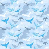 Uccelli che volano nel modello di cielo senza soluzione di continuità