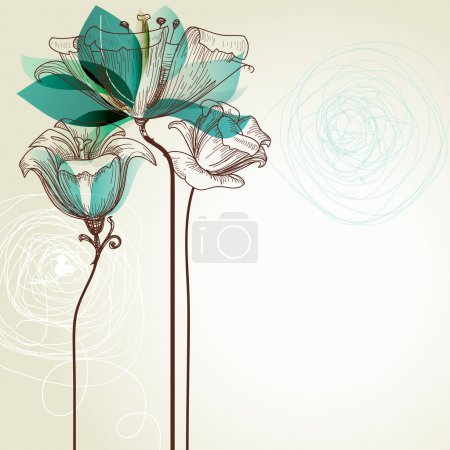 Illustration for Retro flower on beige background - Royalty Free Image