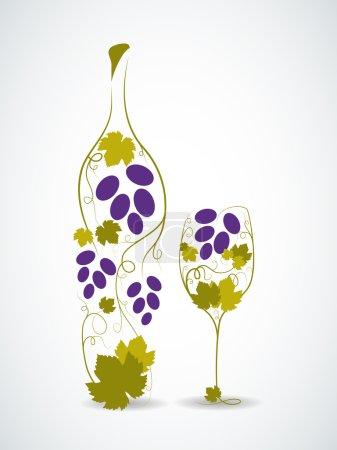 Illustration pour Image abstraite de bouteille de vin et verre à vin - image libre de droit