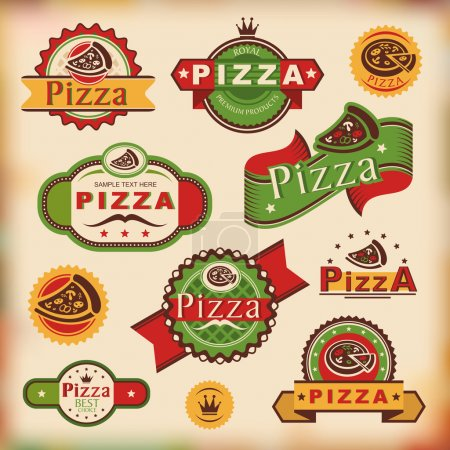 Illustration pour Ensemble d'étiquettes de pizza vintage illustration vectorielle - image libre de droit