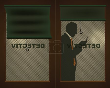 Illustration for Detectives door and a silhouette of a man with a cell phone - Royalty Free Image