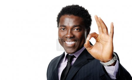 Photo for Ok hand sign gesture from a black african businessman - Royalty Free Image
