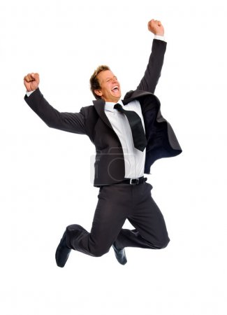 Jumping businessman