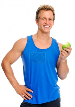 Sporty man with apple
