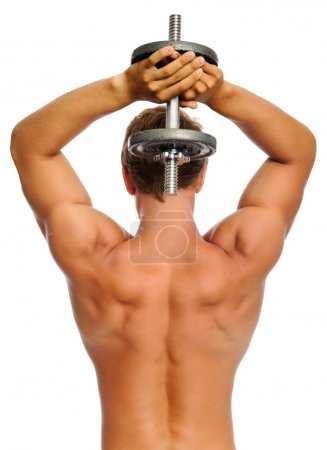 Muscular back of athelete