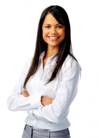 Photo pour Confiante femme hispanique en blouse blanche, isolé sur blanc - image libre de droit