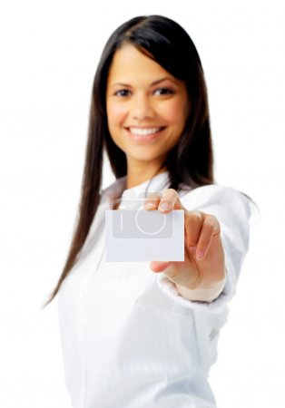 Woman showing her business identity
