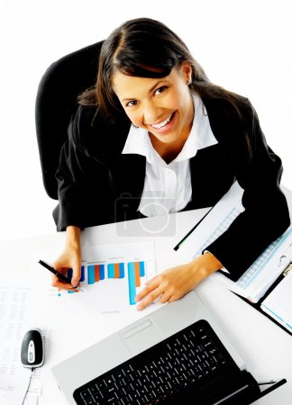 Happy working woman