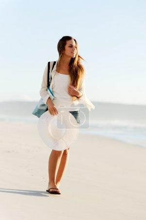 Beach girl walking