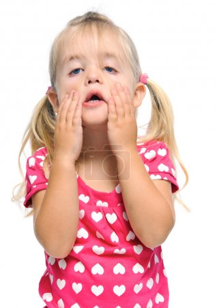 Funny face of young girl