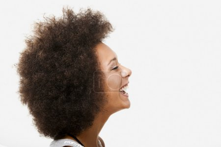 Photo for Portrait profile of a beautiful african american young woman - Royalty Free Image
