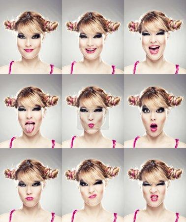 Photo pour De multiples portraits en gros plan d'une même femme exprimant différentes émotions et expressions - image libre de droit