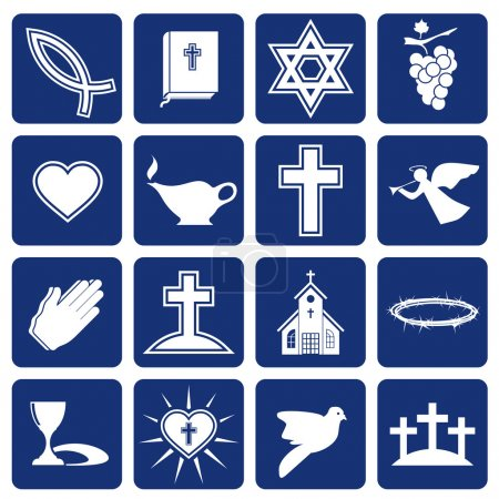 Photo pour Ensemble d'icônes vectorielles de symboles et de signes religieux de christianisme - image libre de droit