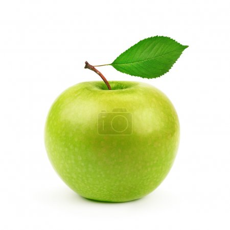 Green apple with leaf