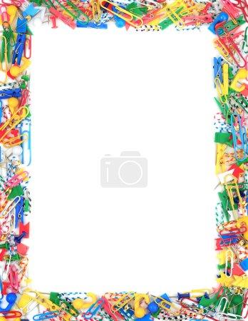 Photo pour Cadre de fournitures de bureau isolé sur fond blanc - image libre de droit