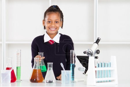 Elementary school pupil in science class