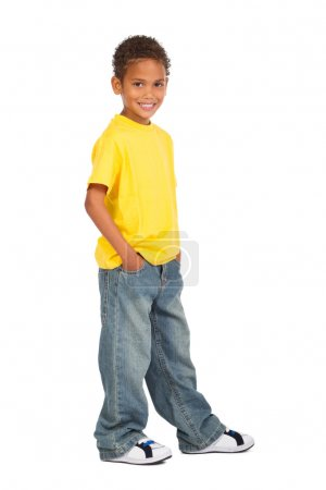 Photo for Cute african american boy posing over white - Royalty Free Image