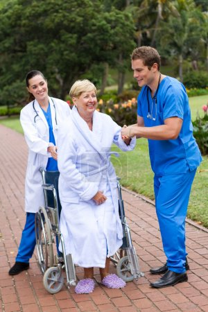 Young caring doctor and nurse helping senior patient get up from wheelchair