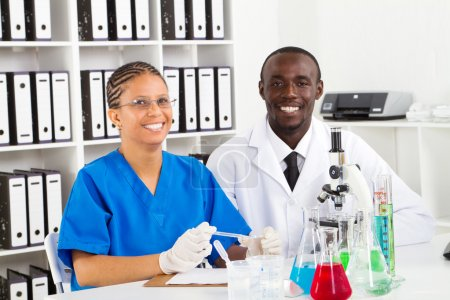 African american lab technicians working in lab