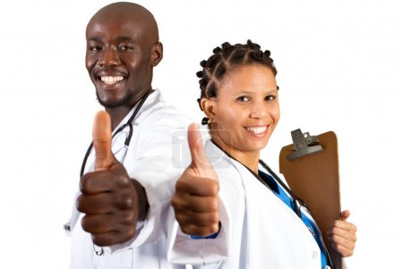 African doctor and nurse thumbs up