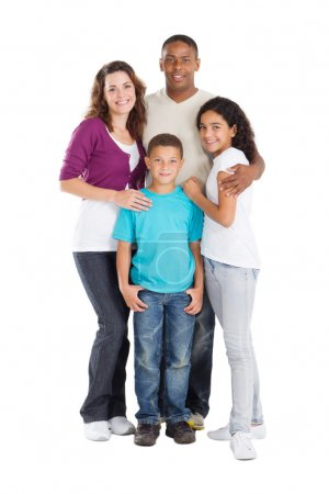Photo for Happy multiracial family of four studio portrait - Royalty Free Image