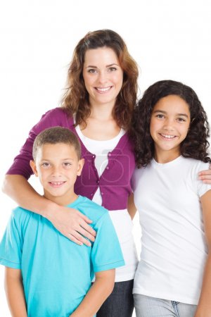 Photo for Happy mother and kids over white - Royalty Free Image