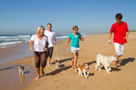 Active family with dogs running on beach