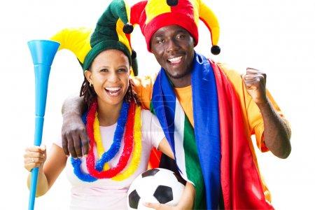Photo pour Joyeux fans africains de football, isolé sur blanc - image libre de droit