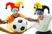 Super soccer fans fighting for a soccer ball