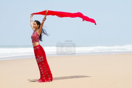 Photo for Indian woman holding sari on windy beach - Royalty Free Image