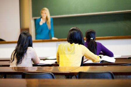 Foto de Grupo de estudiantes universitarios femeninos en clase con profesor - Imagen libre de derechos