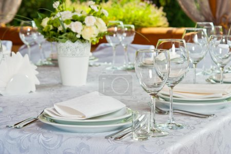 Photo for Beautifully served table with roses - Royalty Free Image
