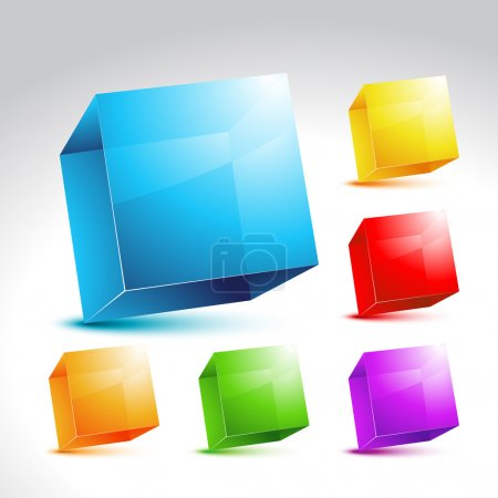 Illustration for Vector collection of six cystal colorful cubes - Royalty Free Image
