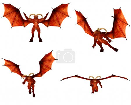Illustration of a pack of four (4) red demons with...