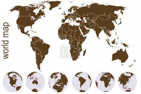 Photo pour Carte du monde marron avec globes terrestres - image libre de droit