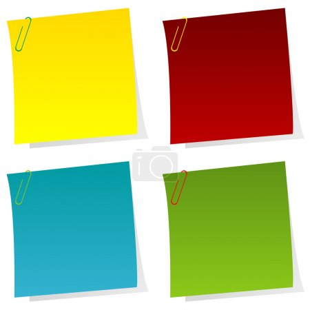 Set of post it notes with paperclips