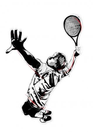 Illustration pour Illustration du service de tennis - image libre de droit