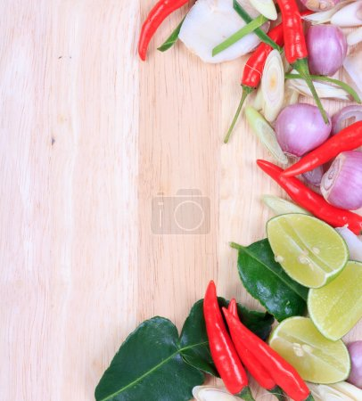 Photo for Spicy Thai food ingredients chili, lime,ginger,red onion,lemongrass isolated on white - Royalty Free Image