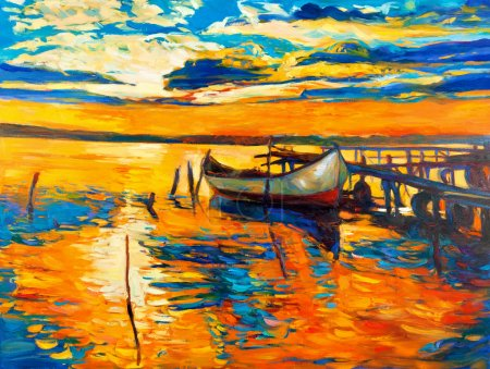 Photo for Original oil painting of boat and jetty(pier) on canvas.Sunset over ocean.Modern Impressionism - Royalty Free Image