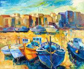"Постер, картина, фотообои ""Уорф и лодки"""