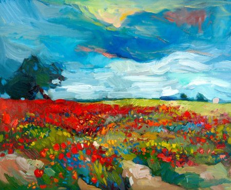 Photo for Original oil painting of fields of flowers on canvas.Country landscape.Modern Impressionism - Royalty Free Image
