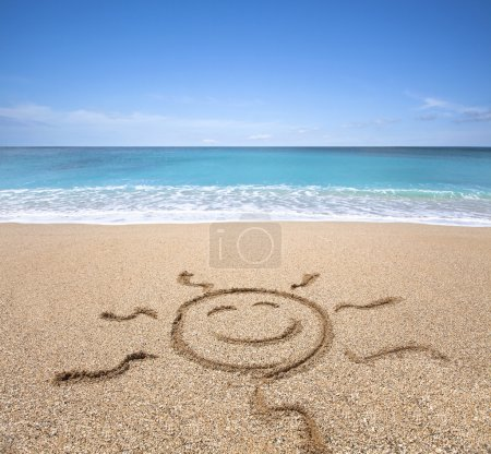 Photo for Happy sun on the beach with clear sky - Royalty Free Image