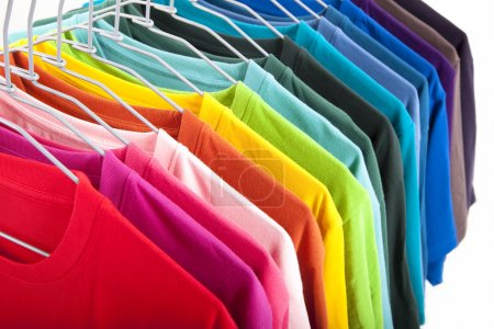Colorful t-shirt isolated on white background
