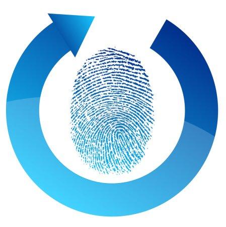 Fingerprint security check illustration design over white