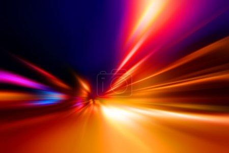 Photo pour Accélération vitesse mouvement sur route de nuit - image libre de droit