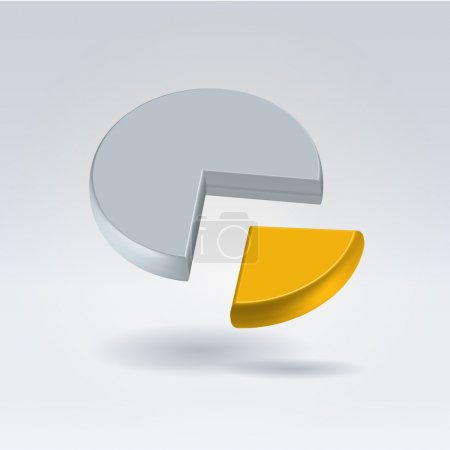 Golden and gray pie chart two piece